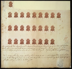 America: Revenue 1765 Newspaper and Pamphlet One Penny. A proof sheet of 26, showing the registration certificate. Unique thus.